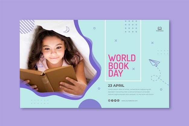Plantilla de banner horizontal para la celebración del día mundial del libro
