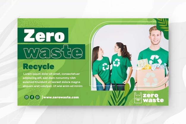 Plantilla de banner horizontal cero residuos
