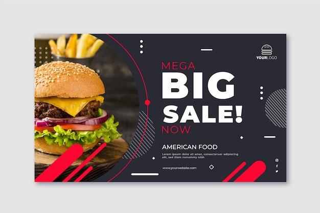 Plantilla de banner horizontal de comida americana