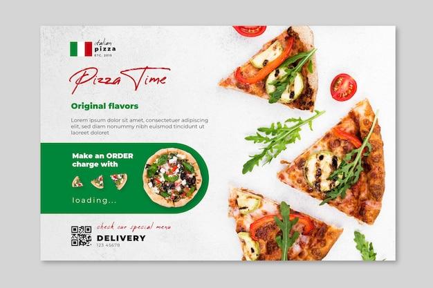 Plantilla de banner horizontal de comida italiana