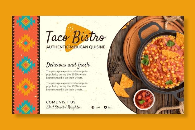Plantilla de banner horizontal de comida mexicana