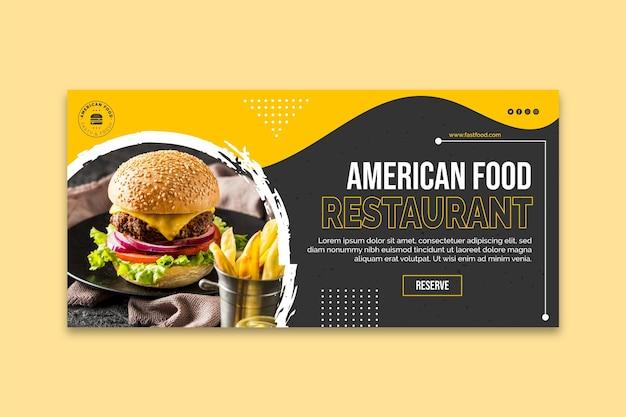 Plantilla de banner horizontal de comida rápida americana