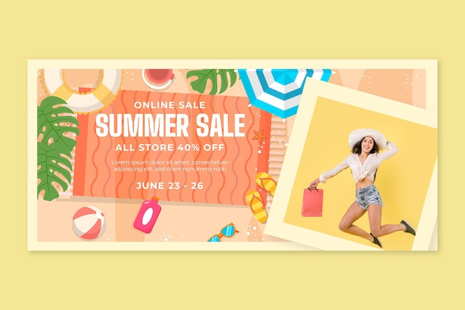 Plantilla de banner horizontal de compras en línea