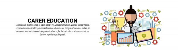 Plantilla de banner horizontal de concepto de desarrollo personal de educación de carrera
