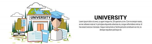 Plantilla de banner horizontal de concepto de educación universitaria