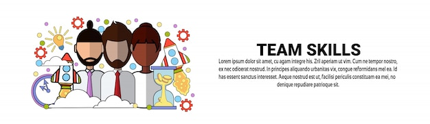 Plantilla de banner horizontal de concepto de negocio de desarrollo de habilidades de equipo