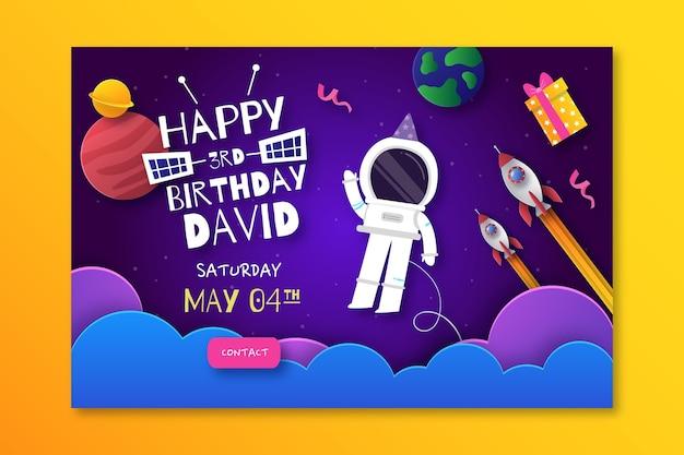Plantilla de banner horizontal de cumpleaños infantil
