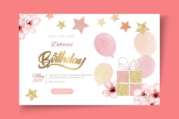 Plantilla de banner horizontal de cumpleaños