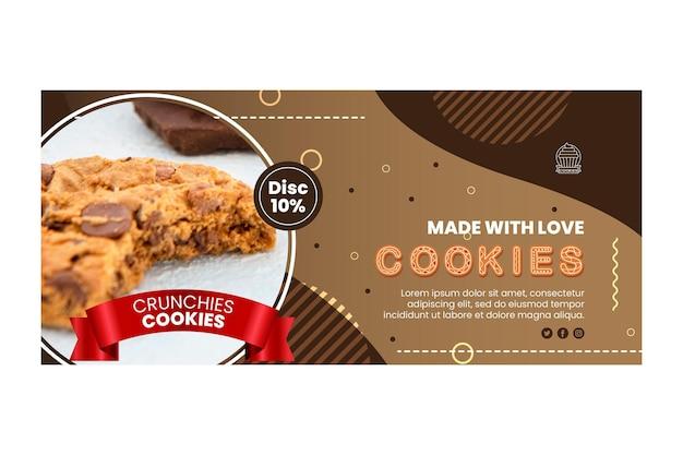 Plantilla de banner horizontal de deliciosas galletas