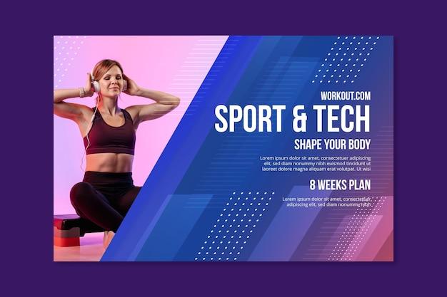 Plantilla de banner horizontal de deporte y tecnología