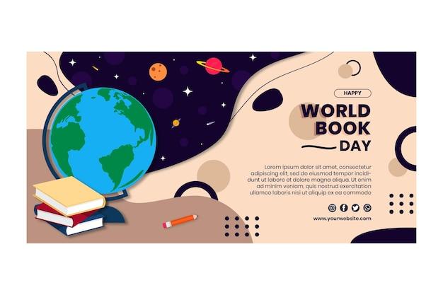 Plantilla de banner horizontal del día mundial del libro