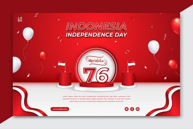 Plantilla de banner horizontal editable del día de la independencia de indonesia con globos y confeti