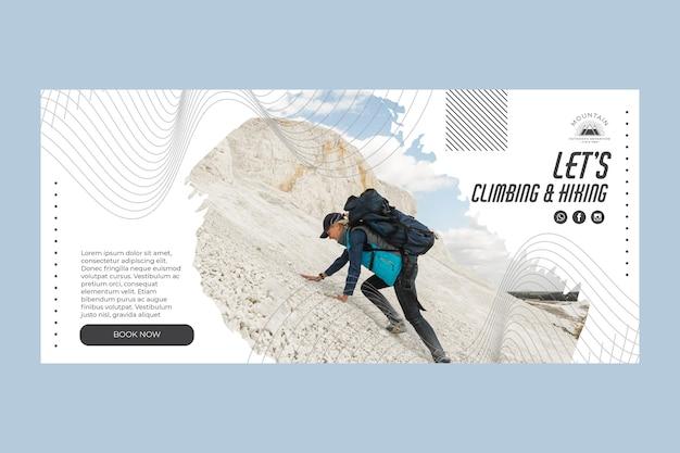 Plantilla de banner horizontal de escalada con foto