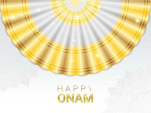 Plantilla de banner horizontal feliz onam. festival hindú de la cosecha celebrado en memoria del rey mahabali por la gente de malayali. sari blanco y dorado tradicional para danza thiruvathirakali y adornos de mandala.