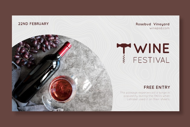 Plantilla de banner horizontal de festival del vino