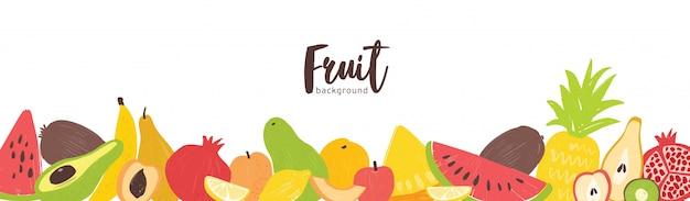 Plantilla de banner horizontal con frutas jugosas tropicales exóticas frescas de verano orgánico en el borde inferior