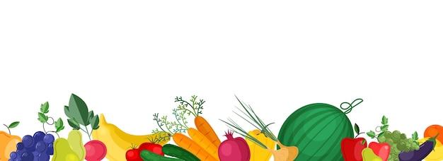 Plantilla de banner horizontal con frutas y verduras frescas maduras cultivadas localmente en el borde inferior.