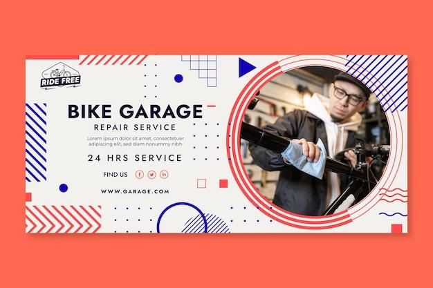 Plantilla de banner horizontal de garaje de bicicletas