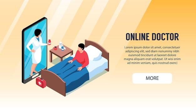 Plantilla de banner horizontal isométrico médico en línea