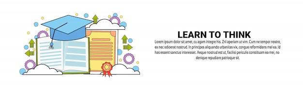 Plantilla de banner horizontal learn to think concept