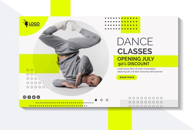 Plantilla de banner horizontal para lecciones de baile con intérprete masculino