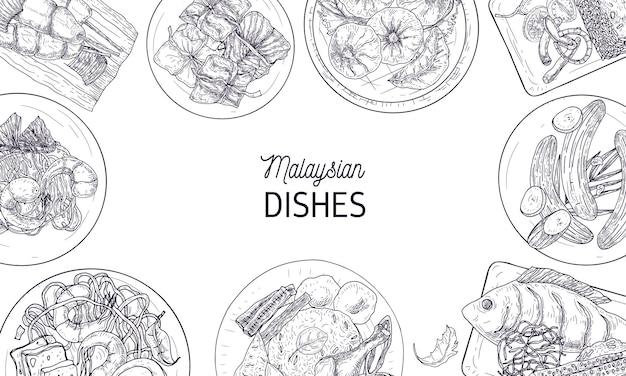 Plantilla de banner horizontal con marco de sabrosas comidas de la cocina de malasia o platos asiáticos picantes dibujados a mano con líneas de contorno sobre fondo blanco. ilustración de vector realista monocromo.