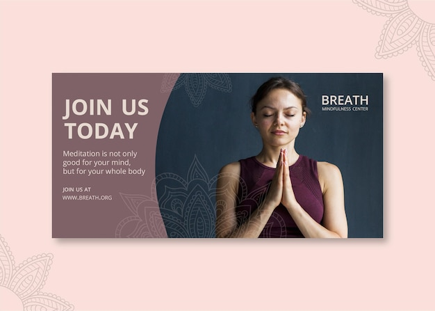 Plantilla de banner horizontal para meditación y atención plena