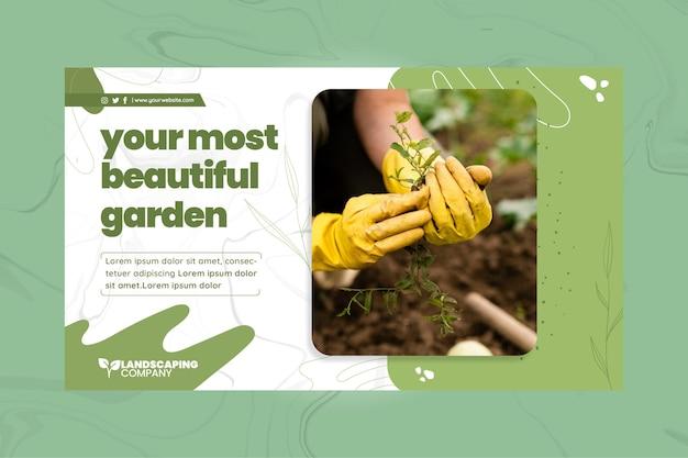 Plantilla de banner horizontal de negocios de jardinería