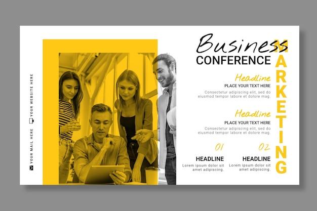 Plantilla de banner horizontal de negocios de marketing