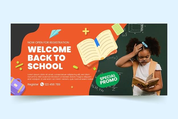 Plantilla de banner horizontal de regreso a la escuela plana con foto