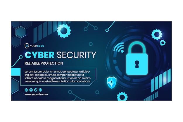 Plantilla de banner horizontal de seguridad cibernética