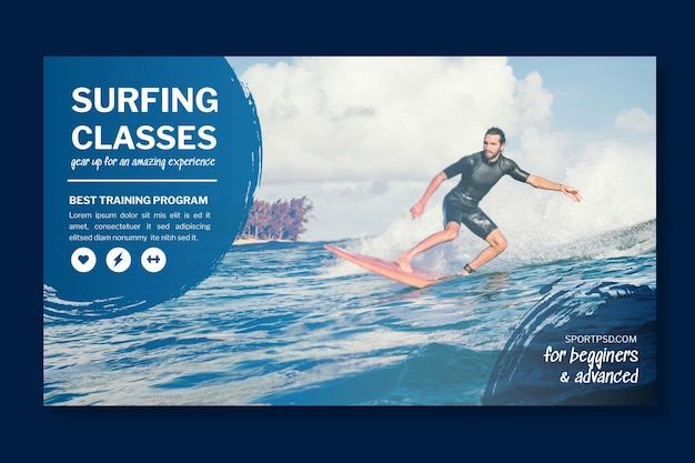 Plantilla de banner horizontal de surf