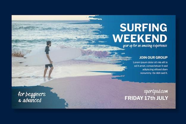 Plantilla de banner horizontal de surf vector gratuito