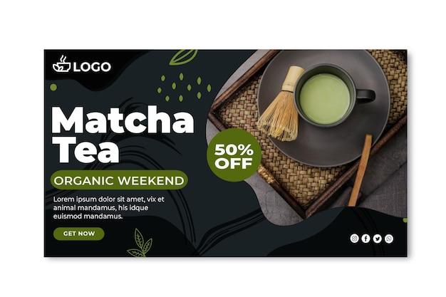 Plantilla de banner horizontal de té matcha