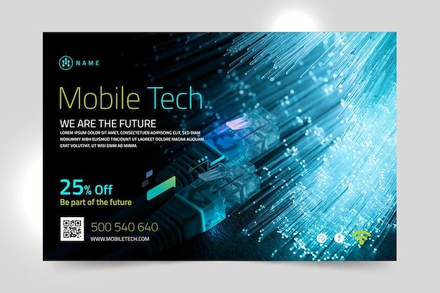 Plantilla de banner horizontal de tecnología móvil