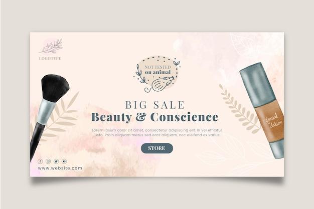 Plantilla de banner horizontal de venta de cosméticos