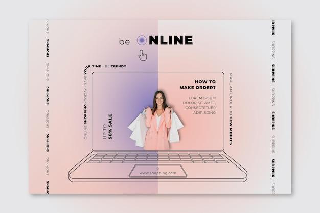 Plantilla de banner horizontal de venta en línea