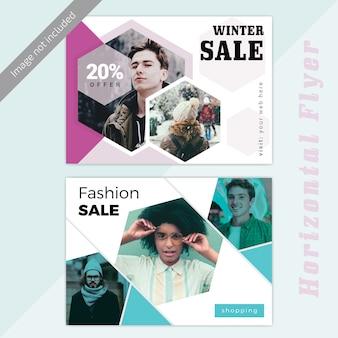 Plantilla de banner horizontal de venta de moda de invierno