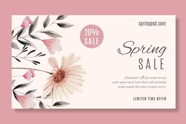 Plantilla de banner horizontal de venta de primavera en acuarela