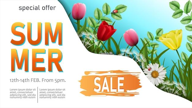 Plantilla de banner horizontal de venta de verano con flores de verano y bichos