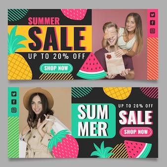 Plantilla de banner horizontal de venta de verano plano con foto