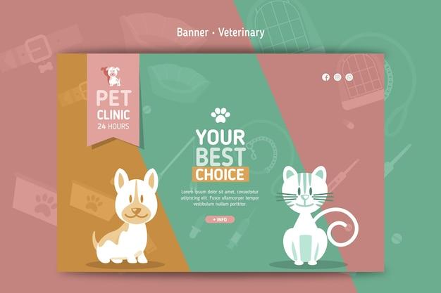 Plantilla de banner horizontal para veterinaria