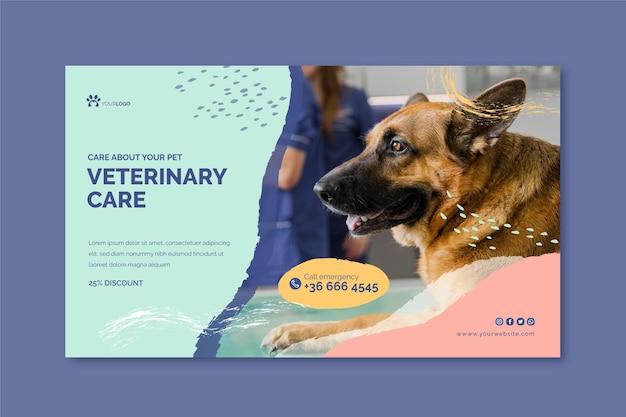 Plantilla de banner horizontal veterinario