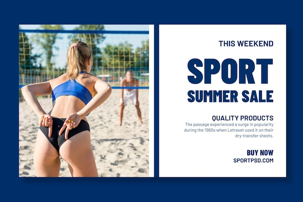 Plantilla de banner horizontal para voleibol de playa
