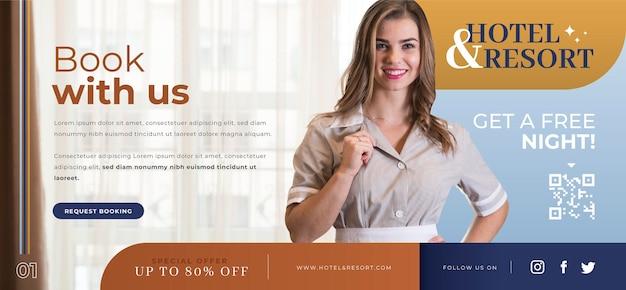 Plantilla de banner de hotel de diseño plano con foto
