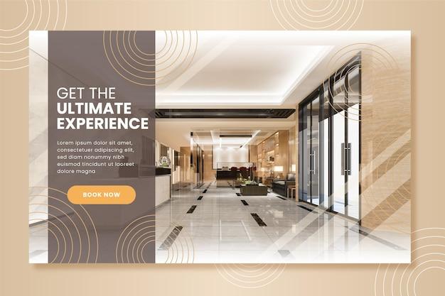 Plantilla de banner de hotel plano con foto