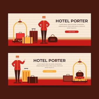 Plantilla de banner de hotel plano ilustrado