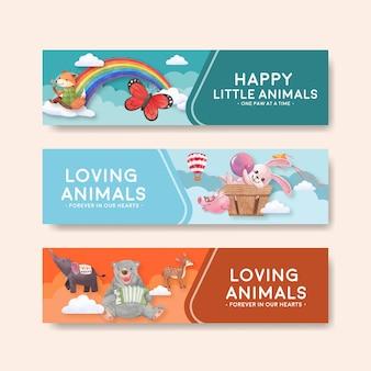 Plantilla de banner con ilustración acuarela de concepto de animales felices
