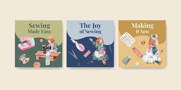 Plantilla de banner con ilustración acuarela de diseño de concepto de costura.