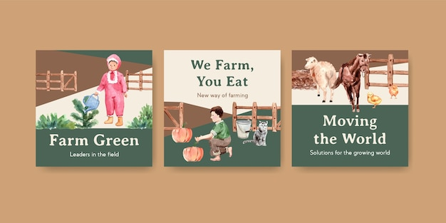 Plantilla de banner con ilustración acuarela de diseño de concepto orgánico de granja.